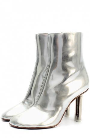 Ботильоны из металлизированной кожи на металлическом каблуке Vetements. Цвет: серебряный