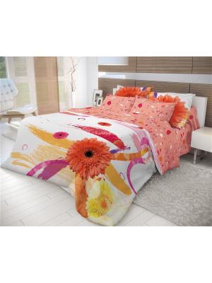 Комплект постельного белья Волшебная ночь Семейный Gerbera. Цвет: белый, малиновый, красный, оранжевый, желтый