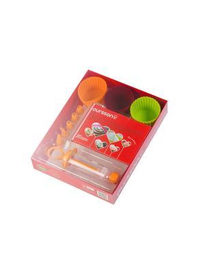 Набор силиконовых мини-форм для выпечки OURSSON. Цвет: оранжевый, зеленый, красный