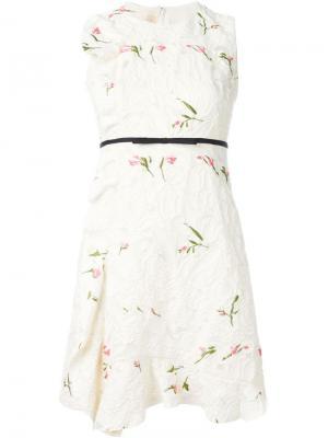 Платье без рукавов с цветочной вышивкой Giambattista Valli. Цвет: телесный