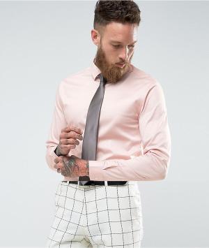 ASOS Розовая облегающая рубашка с темно-серым галстуком Wedding. Цвет: розовый