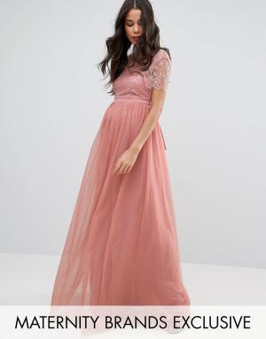 Little Mistress Maternity Платье макси для беременных с кружевным лифом Maternit. Цвет: розовый