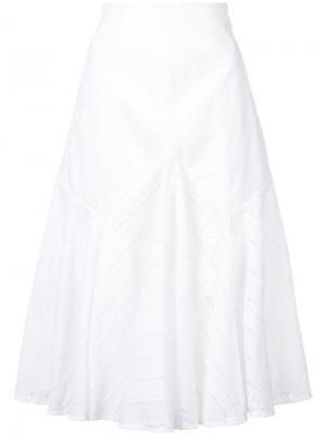Юбка А-образного силуэта с ажурной отделкой Acler. Цвет: белый