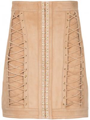 Мини-юбка со шнуровкой Balmain. Цвет: коричневый