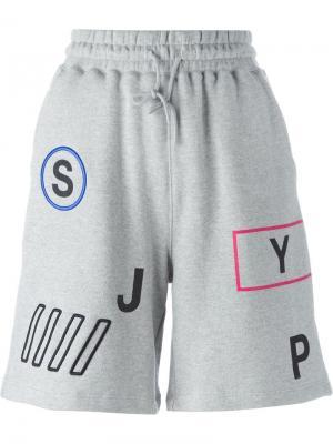Спортивные шорты с принтом букв Steve J & Yoni P. Цвет: серый