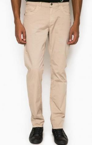 Хлопковые зауженные брюки с пятью карманами BIKKEMBERGS. Цвет: бежевый