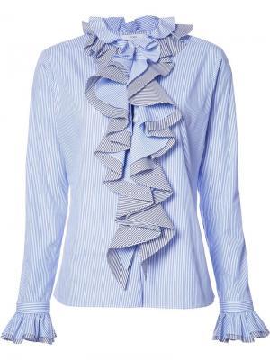 Рубашка  Thin Stripe Longsleeved Ruffled Tome. Цвет: синий