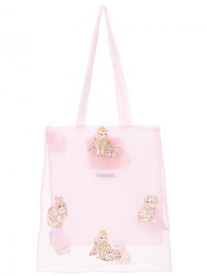 Сумка-тоут с принтом кошек Mikio Sakabe. Цвет: розовый и фиолетовый
