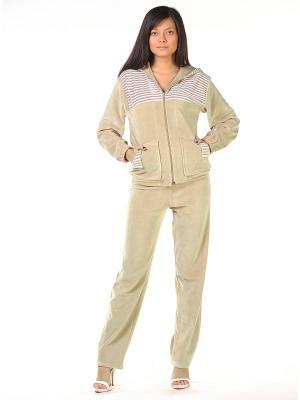 Велюровый костюм Тефия. Цвет: оливковый, бежевый, белый