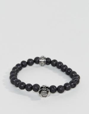 Seven London Черный браслет из бусин с черепом. Цвет: черный