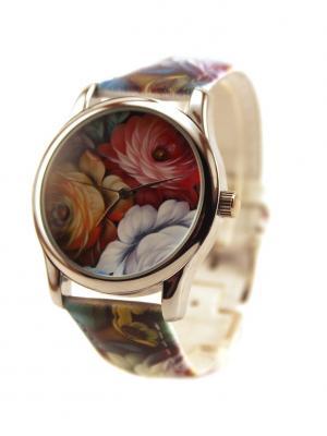 Дизайнерские часы Роспись Tina Bolotina. Цвет: красный, оранжевый, синий
