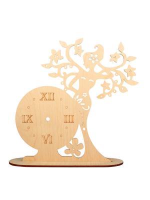 Форма для декора - часы Мгновение над ветвями Матренин Посад. Цвет: бежевый