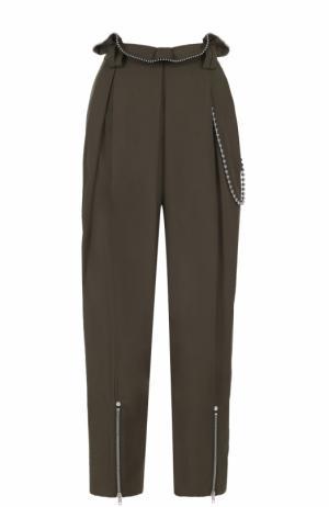 Укороченные брюки-бананы с декоративной отделкой Alexander Wang. Цвет: хаки