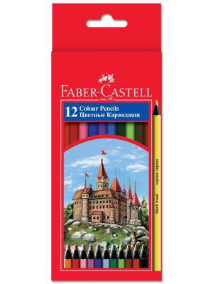 Цветные карандаши COLOUR PENCILS, набор цветов в картонной коробке, 12 шт. Faber-Castell. Цвет: красный