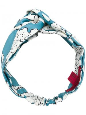 Ободок для волос с цветочным принтом Valentino. Цвет: синий