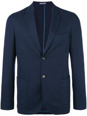 Блейзер с накладными карманами Boglioli. Цвет: синий