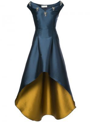 Длинное платье  с неравномерным подолом Elsa Sachin & Babi. Цвет: синий