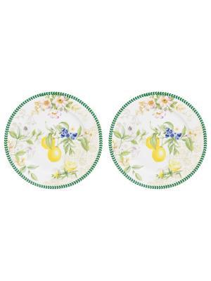 Набор из 2-х десертных тарелок Лимоны Elan Gallery. Цвет: зеленый, белый, желтый