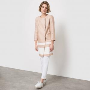 Пальто из льна с круглым вырезом La Redoute Collections. Цвет: бежевый