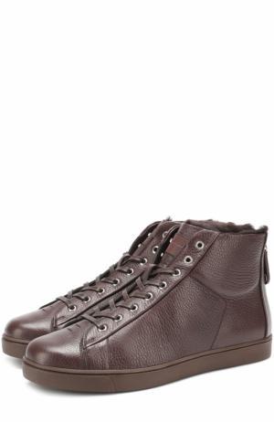 Высокие кожаные кеды на шнуровке с внутренней меховой отделкой Gianvito Rossi. Цвет: темно-коричневый