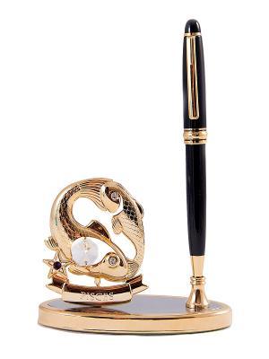 Подставка под ручку - знак зодиака Рыба CRYSTOCRAFT. Цвет: золотистый, черный