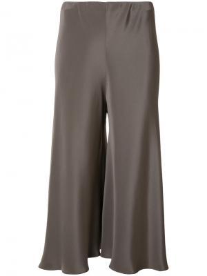 Укороченные шелковые брюки Peter Cohen. Цвет: коричневый