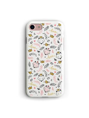 Чехол для iPhone 7/8 Лисички Love Boom Case. Цвет: бледно-розовый, белый, светло-желтый