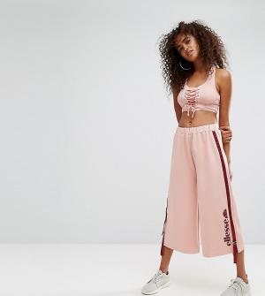 Ellesse Укороченные джоггеры с широкими штанинами и завязками по бокам. Цвет: розовый