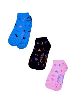 Носки женские,комплект 3шт Malerba. Цвет: синий, розовый, салатовый