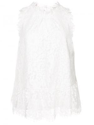 Ажурная многослойная блузка Joie. Цвет: белый