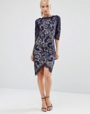 Jessica Wright Платье-футляр с рукавами 3/4. Цвет: темно-синий