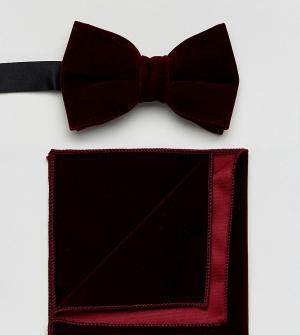 ASOS Бордовый бархатный галстук-бабочка и платок для пиджака. Цвет: красный