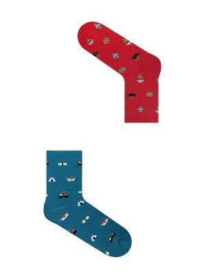Набор Женская прихоть (2 пары в упаковке), дизайнерские носки SOXshop. Цвет: голубой, красный