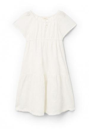Платье Mango Kids. Цвет: белый