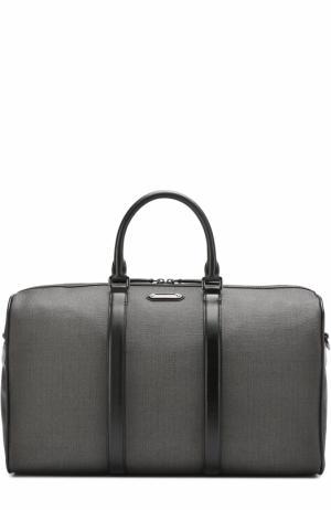 Текстильная дорожная сумка с плечевым ремнем Ermenegildo Zegna. Цвет: темно-серый