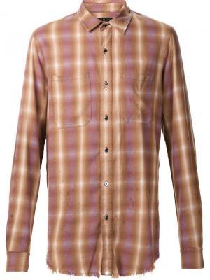 Классическая рубашка в клетку Amiri. Цвет: коричневый
