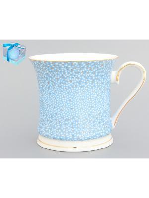 Кружка Золотая россыпь Elan Gallery. Цвет: голубой, белый