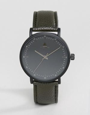 ASOS Черные часы с ремешком из искусственной кожи цвета хаки. Цвет: черный