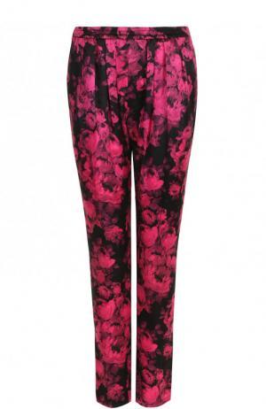Шелковые брюки с принтом Stella McCartney. Цвет: розовый