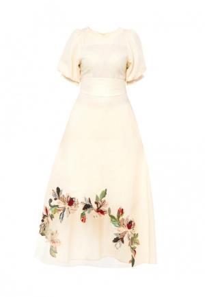 Платье Yukostyle. Цвет: бежевый