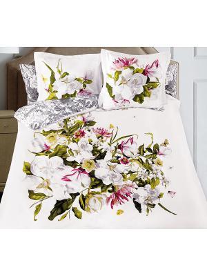 Комплект постельного белья SergLook Евро Magnolia Mona Liza. Цвет: белый, зеленый, бордовый