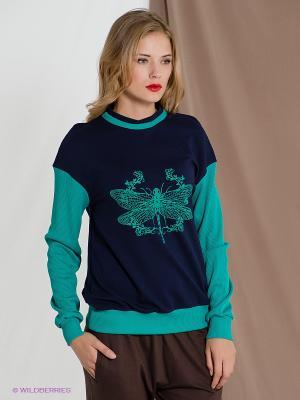 Свитшот Libellulas. Цвет: зеленый, синий