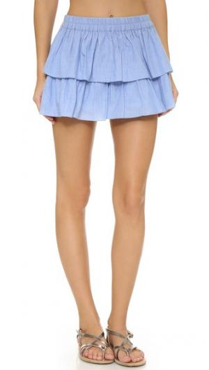 Многоуровневая пляжная мини-юбка Thayer. Цвет: шамбре