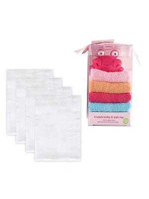 Комплект Многоразовые подгузники, 4шт + Подарочный набор Игрушка и 4 салфетки для купания, 5 пр., Luvable Friends. Цвет: розовый, белый