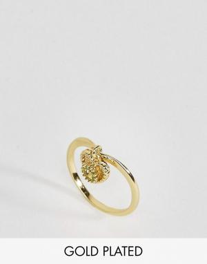 Rock 'N' Rose Кольцо с перидотом. Цвет: золотой