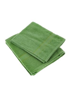 Набор из 2х махровых полотенец зеленый - 50*90, 70х140, УзТ-НПМ-102-08 Aisha. Цвет: зеленый