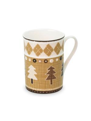 Набор из 6-и кружек Кофейные елки костяного фарфора, 350 мл. DEEPOT. Цвет: коричневый