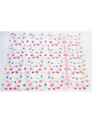 Мешок для стирки белья и носков на замке, полиэстер, 50х60см. KONONO. Цвет: белый