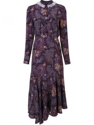 Платье асимметричного кроя с абстрактным принтом Suno. Цвет: розовый и фиолетовый
