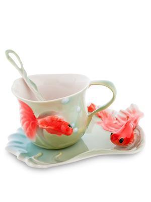 Чайная пара Золотые рыбки (Pavone) Pavone. Цвет: салатовый, красный